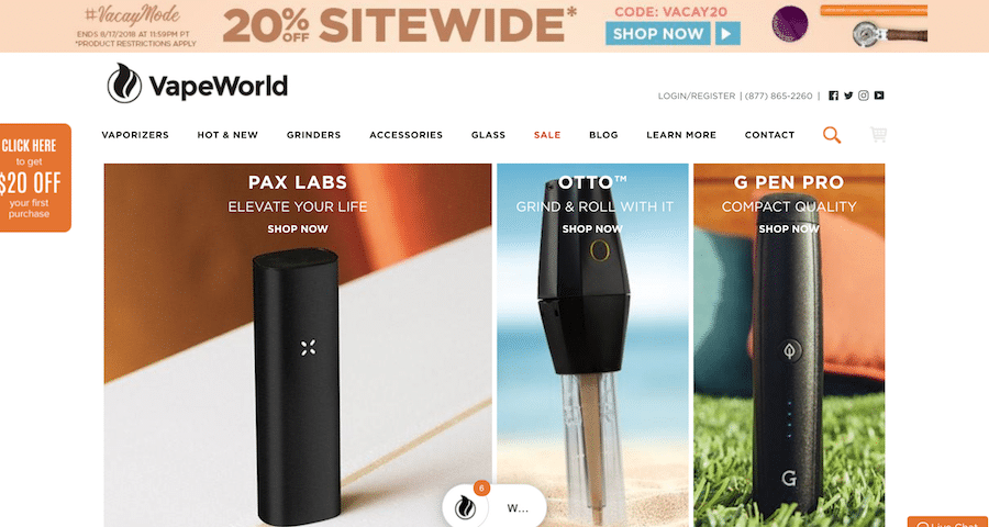 Vaporworld Store Page