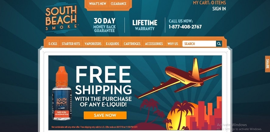 South Beach Smoke Web Store Page